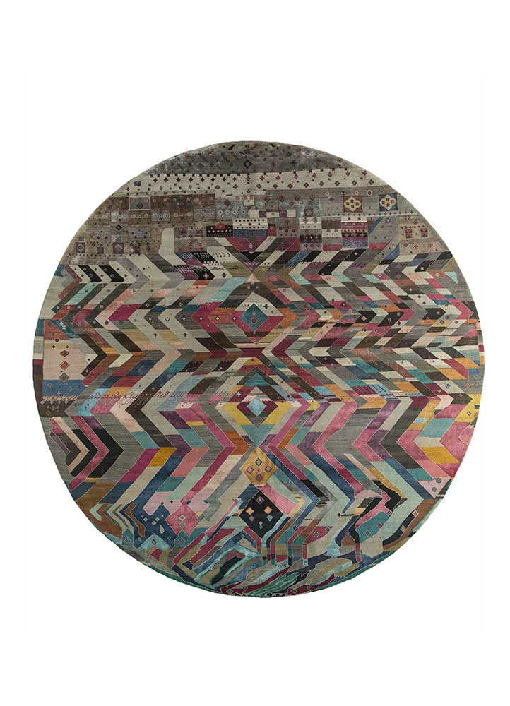 artisan originals grey and black wool and bamboo silk hand knotted Rug