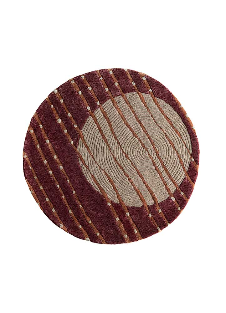 confetti red and orange wool and viscose hand tufted Rug - HeadShot