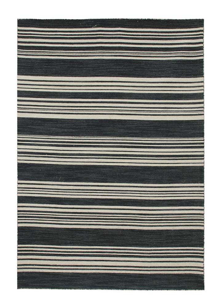 aqua grey and black wool flat weaves Rug - HeadShot