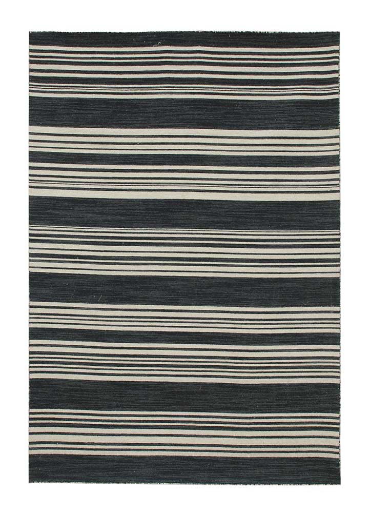 DR-116 Ebony/Ebony grey and black wool flat weaves Rug
