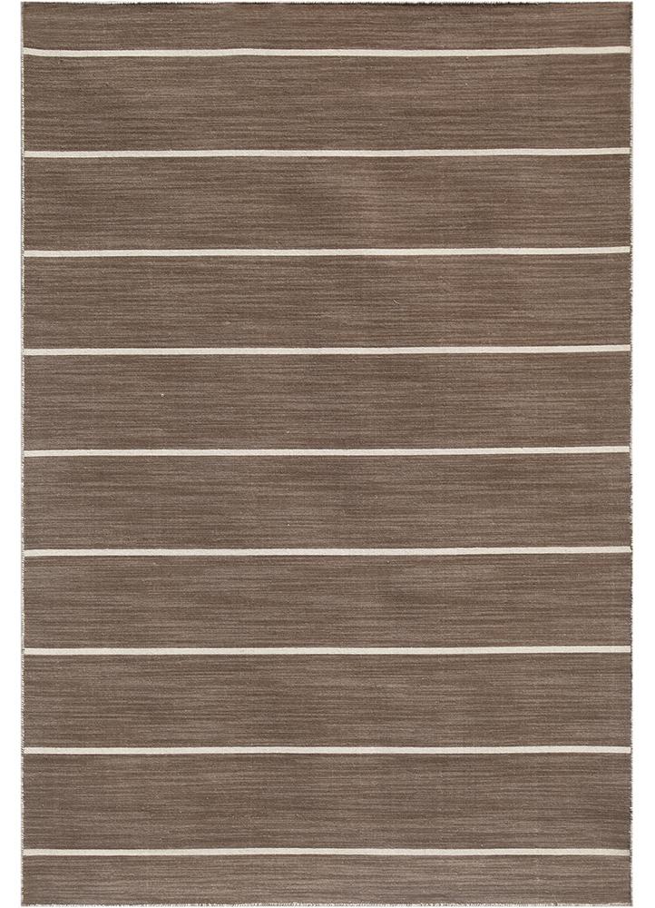 DR-119 Gray Brown/Gray Brown beige and brown wool flat weaves Rug