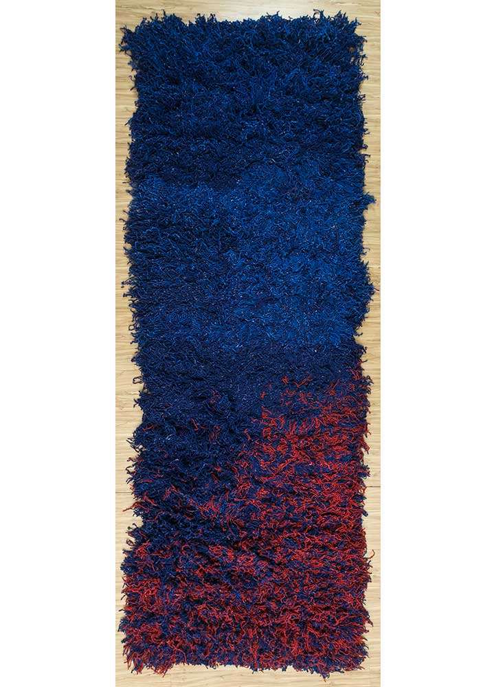 zuri blue wool hand knotted Rug - HeadShot