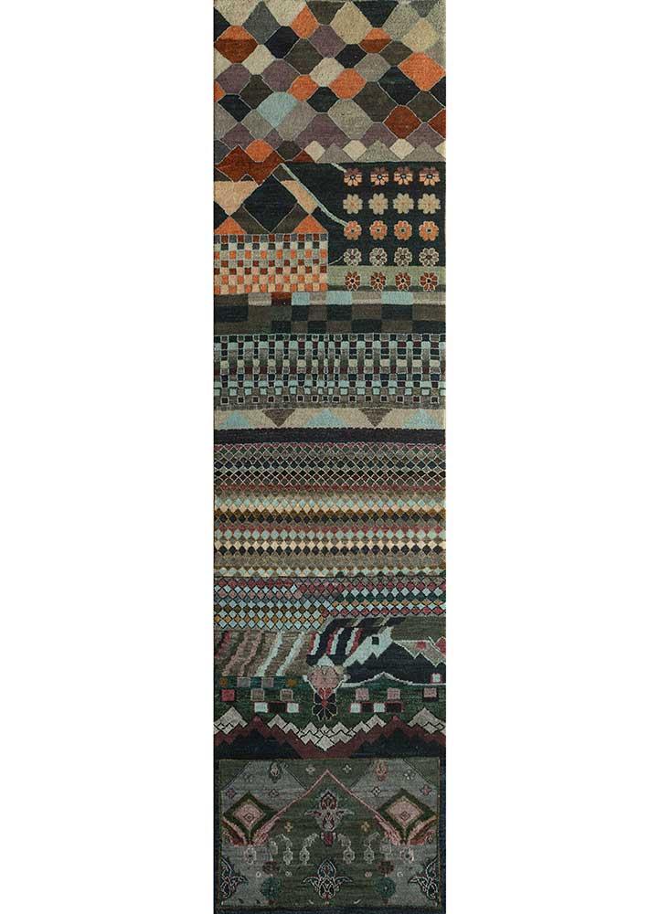 artisan originals grey and black wool and bamboo silk hand knotted Rug - HeadShot