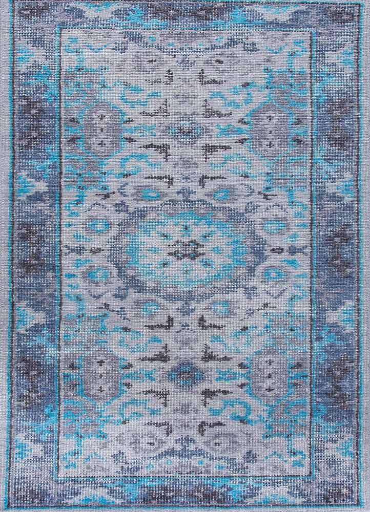 PKWL-8002 Classic Gray/Chicory grey and black wool hand knotted Rug