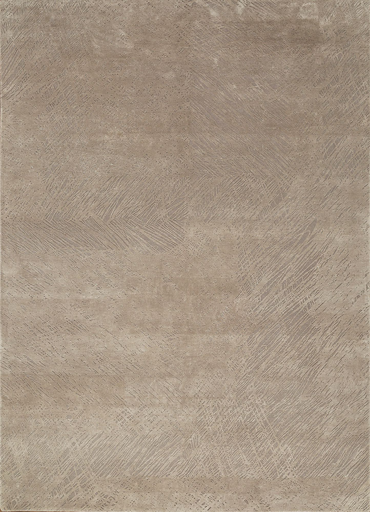 QM-951 Crystal Gray/Shale grey and black wool and silk hand knotted Rug