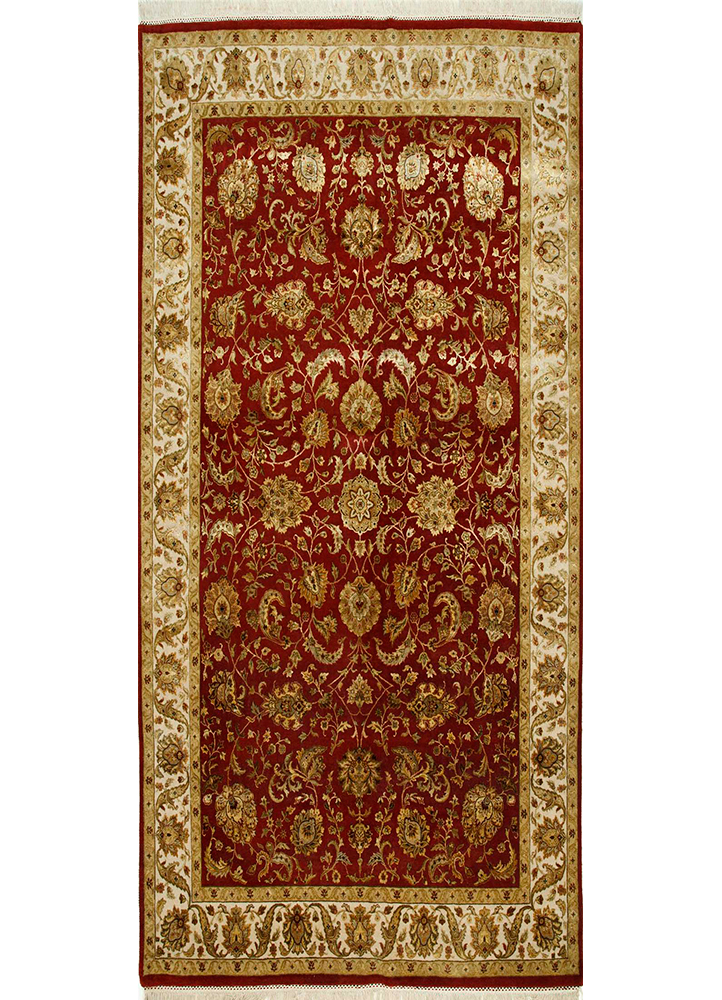QNQ-10 Red/Medium Ivory red and orange wool and silk hand knotted Rug