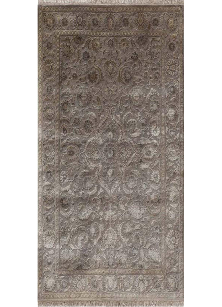 QNQ-21 Soft Gray/Soft Gray grey and black wool and silk hand knotted Rug