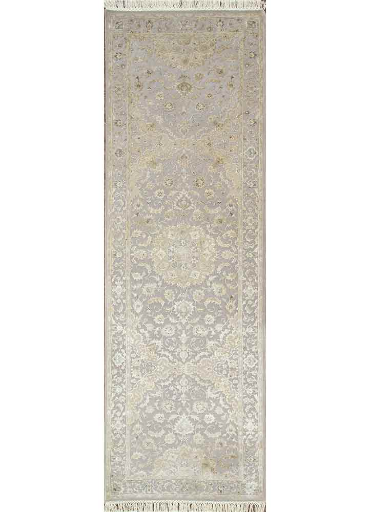 QNQ-50 Soft Gray/Soft Gray grey and black wool and silk hand knotted Rug