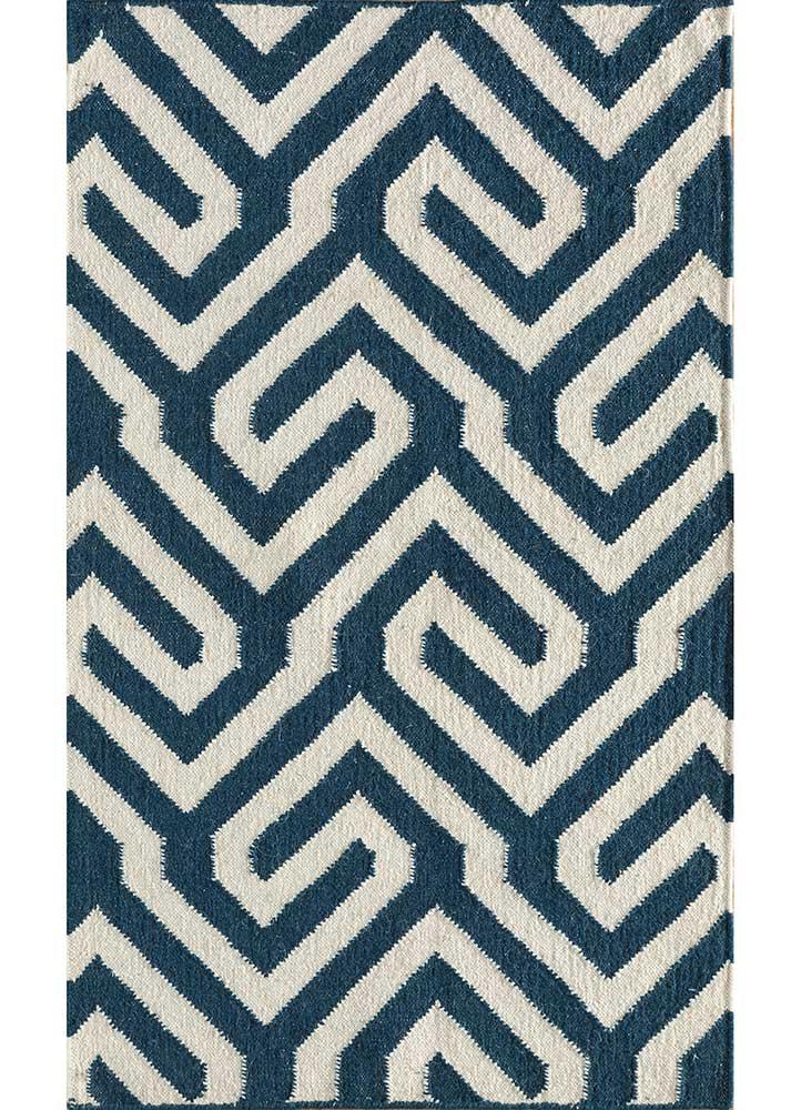SDWL-143 Ink Blue/White blue wool flat weaves Rug