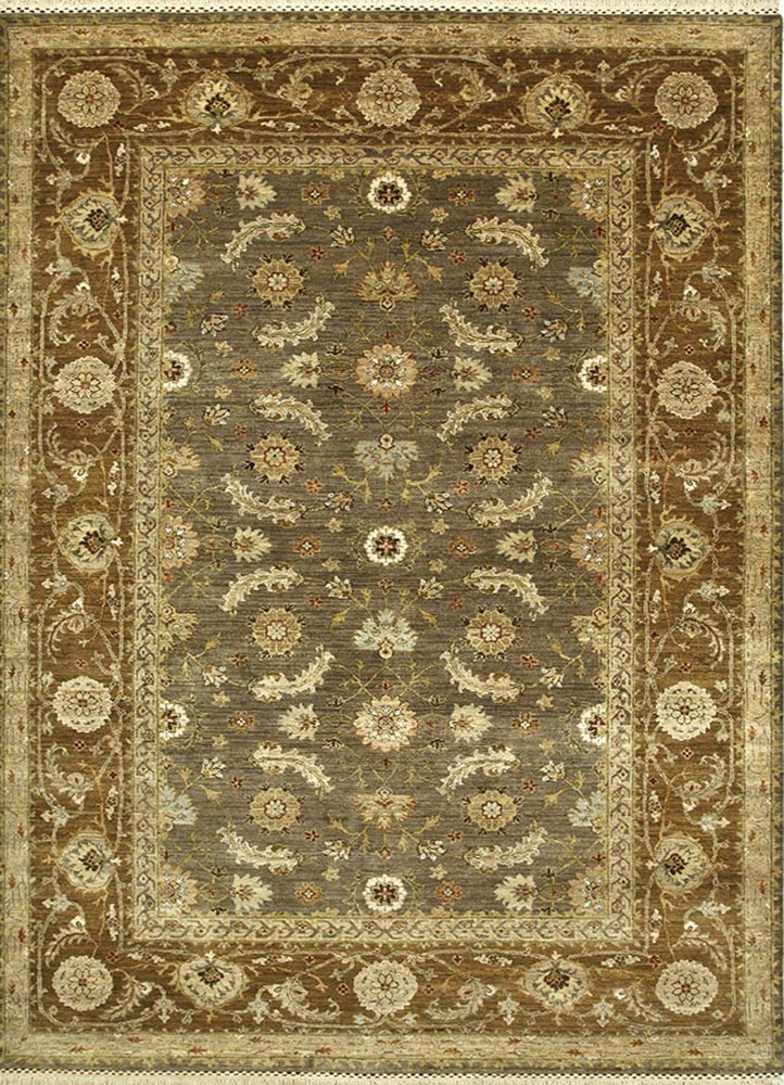 SPR-17 Gray Brown/Gold Brown beige and brown wool hand knotted Rug