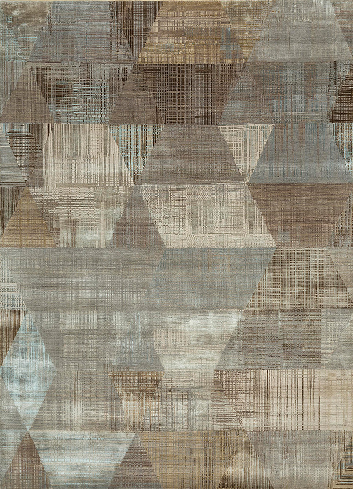SRB-730 Ashwood/Antique White grey and black wool and bamboo silk hand knotted Rug