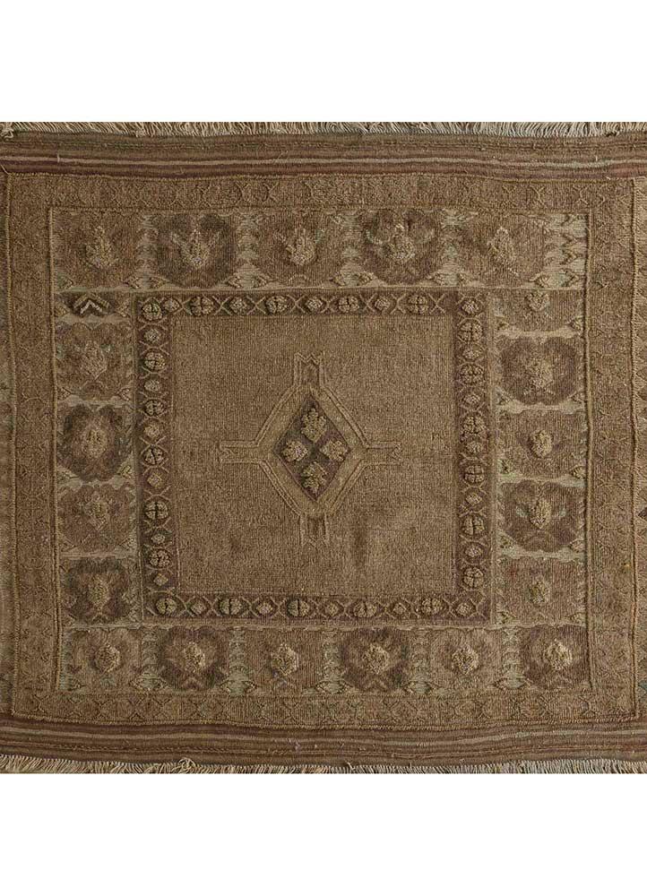 heritage beige and brown wool flat weaves Rug - HeadShot
