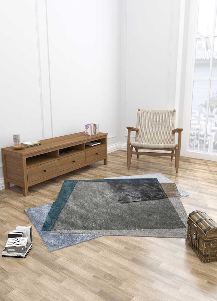 come around grey and black wool and viscose hand tufted Rug - Loom