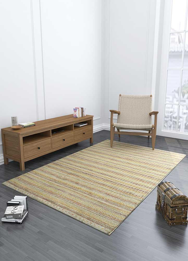 aqua ivory wool flat weaves Rug - Loom