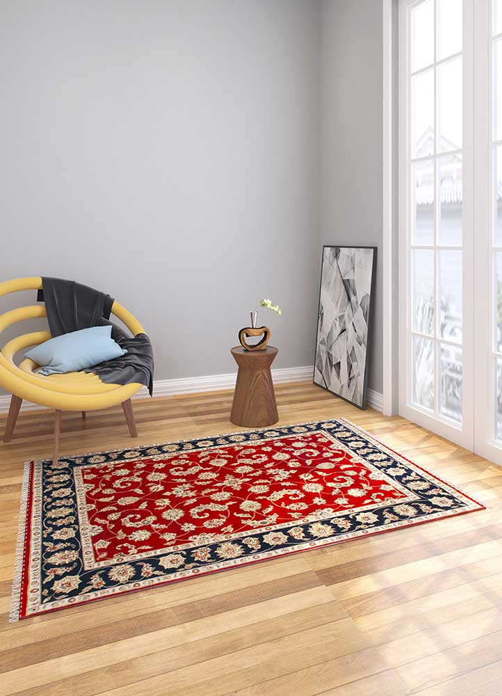 atlantis red and orange wool hand knotted Rug - Loom