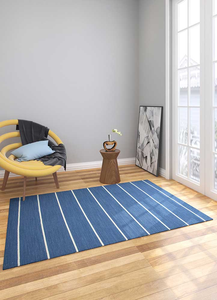 aqua blue wool flat weaves Rug - Loom