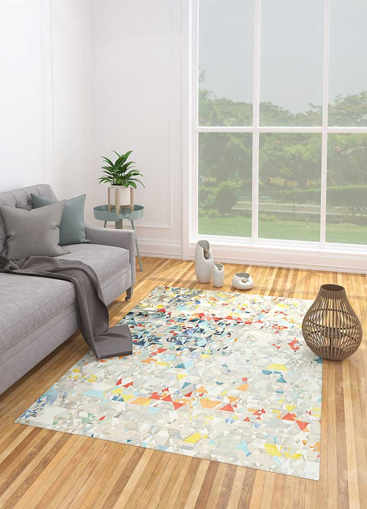 aakar by kavi grey and black wool and bamboo silk hand knotted Rug - Loom