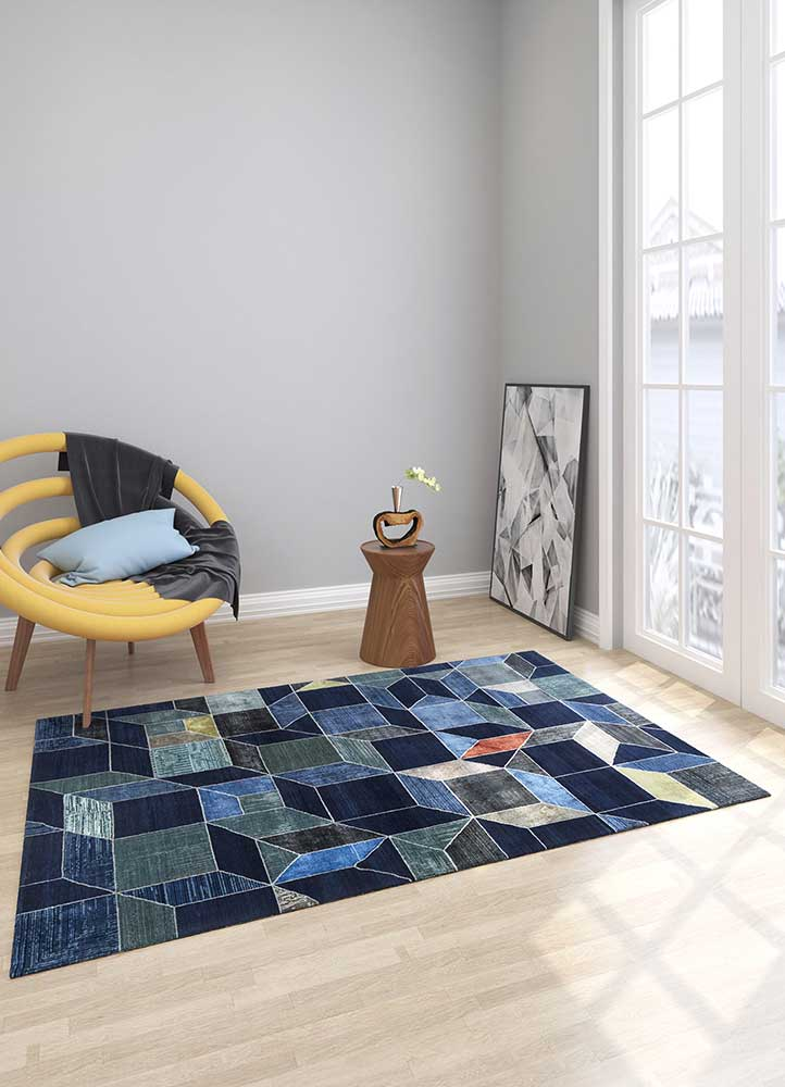 aakar by kavi blue wool and bamboo silk hand knotted Rug - Loom