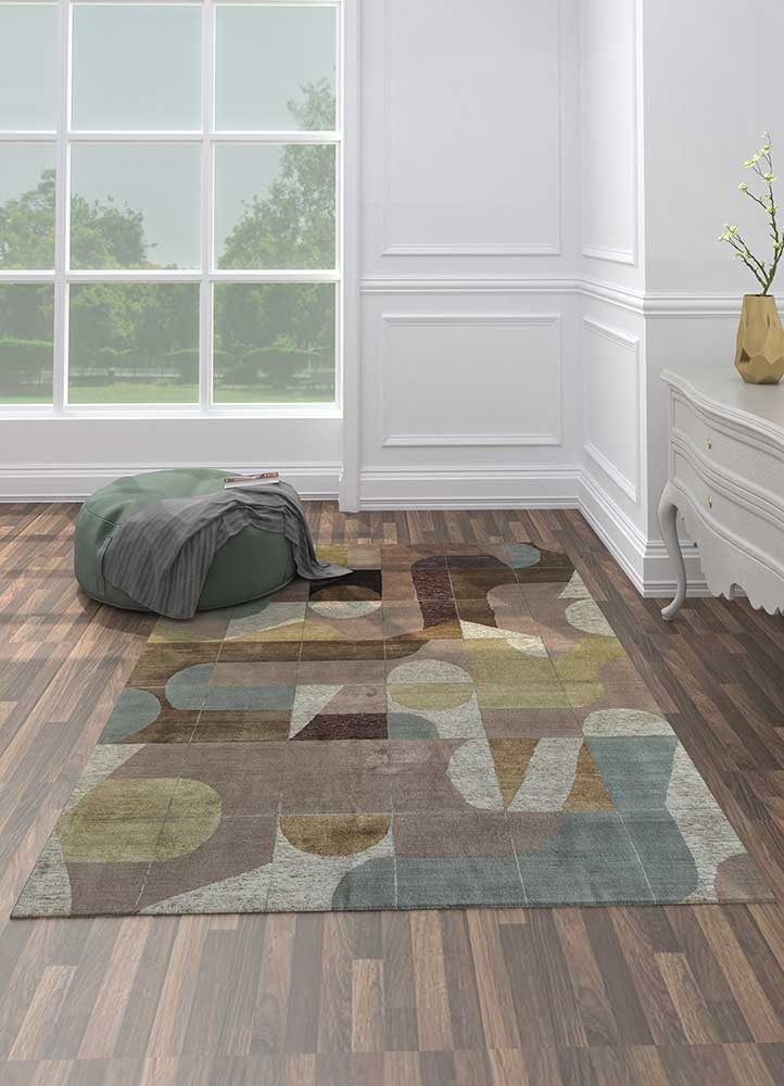 aakar by kavi pink and purple wool and bamboo silk hand knotted Rug - Loom