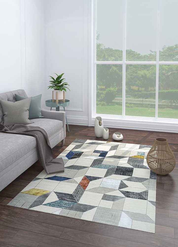 aakar by kavi ivory wool and bamboo silk hand knotted Rug - Loom