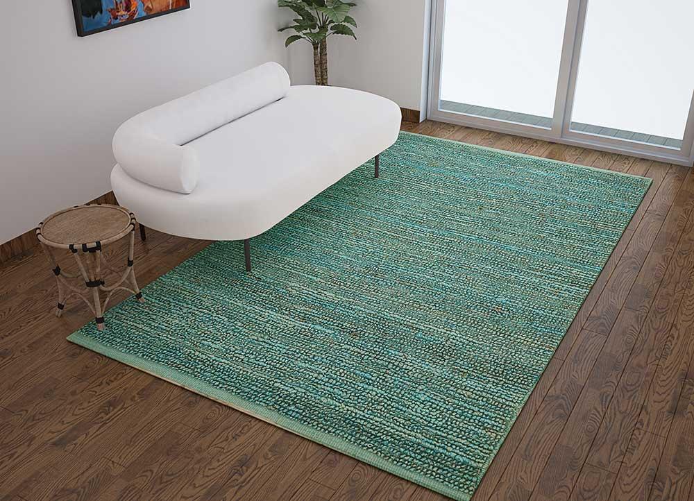 abrash blue jute and hemp flat weaves Rug - Loom