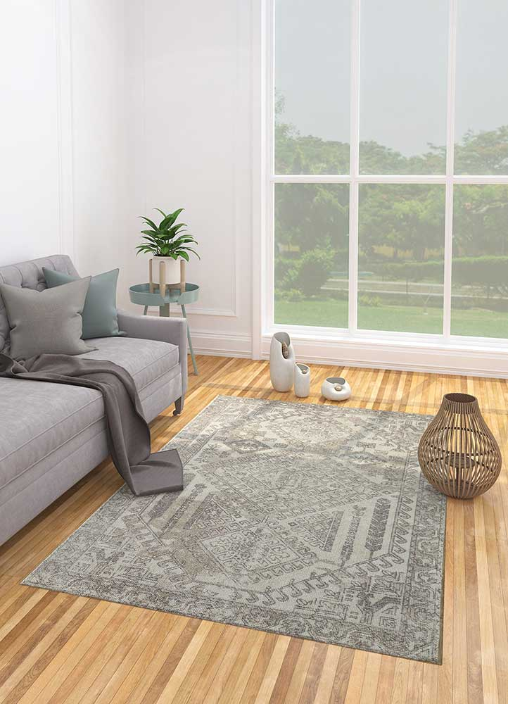 acar beige and brown wool and bamboo silk hand loom Rug - Loom