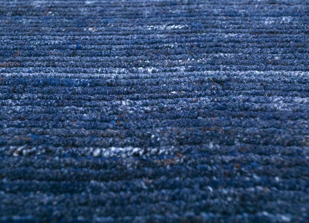 basis blue wool and viscose hand loom Rug - Loom
