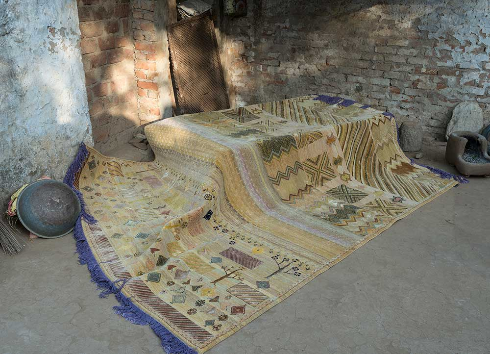 artisan originals gold wool and bamboo silk hand knotted Rug - Loom