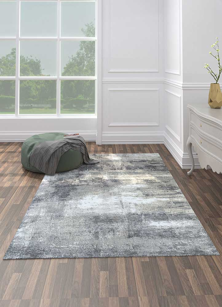 uvenuti grey and black wool and bamboo silk hand knotted Rug - Loom