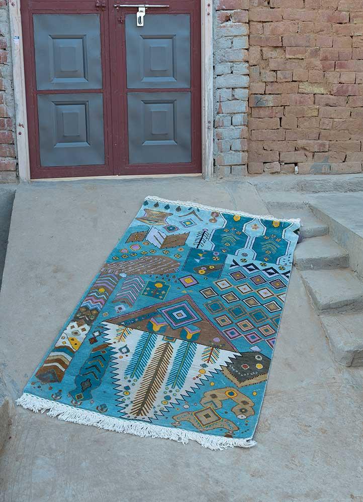 artisan originals blue silk hand knotted Rug - Loom