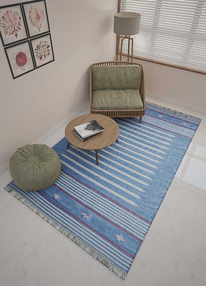 indusbar blue cotton flat weaves Rug - Loom