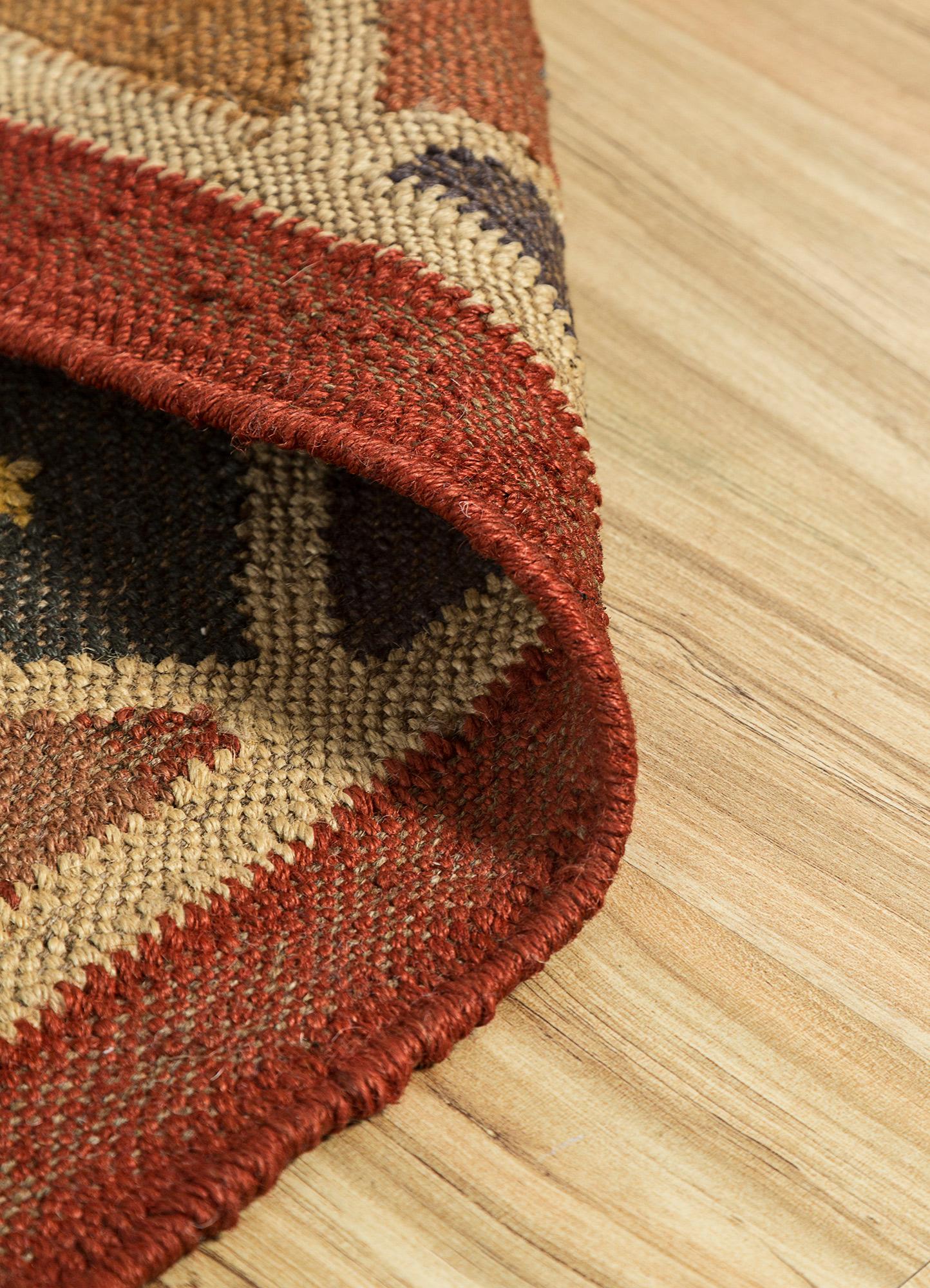 bedouin red and orange jute and hemp flat weaves Rug - Loom