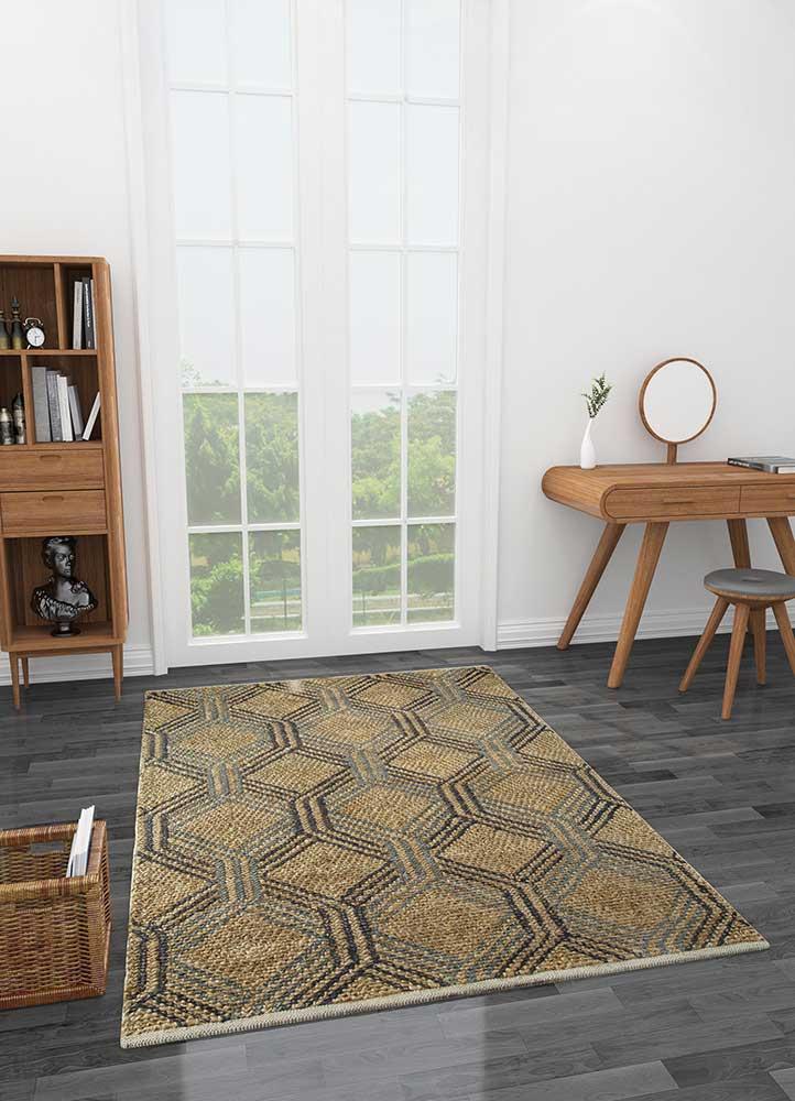 anatolia beige and brown jute and hemp jute rugs Rug - Loom