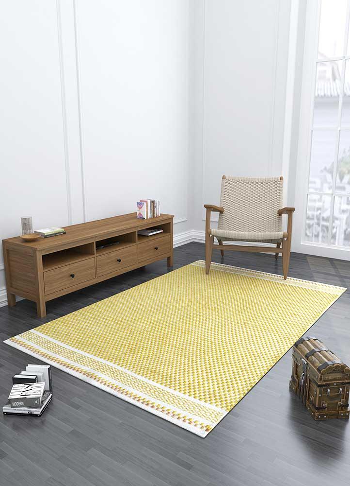 abrash gold polyester flat weaves Rug - Loom