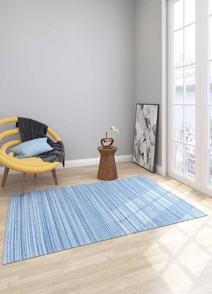 tesoro blue polyester hand loom Rug - Loom
