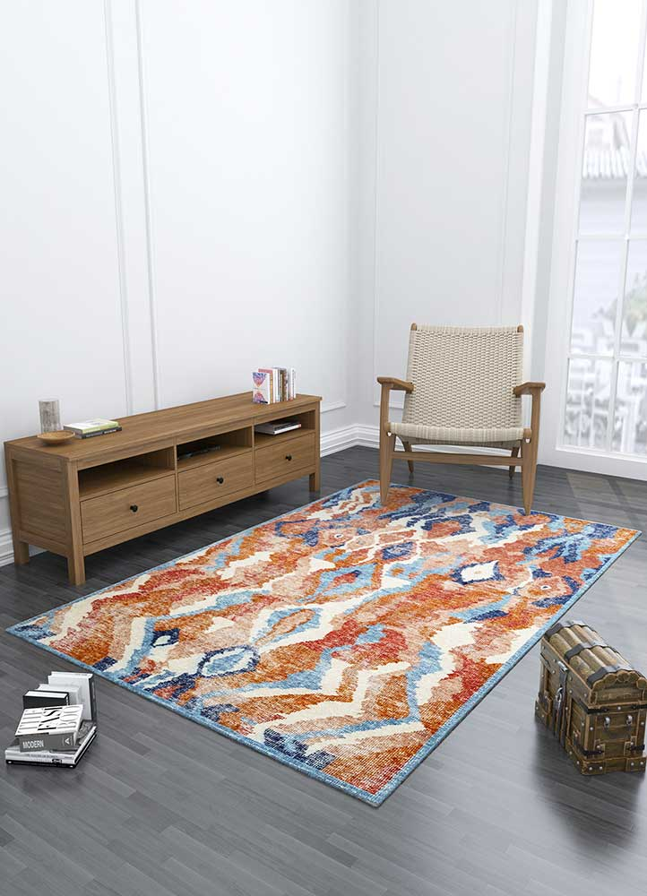 revolution red and orange wool hand knotted Rug - Loom