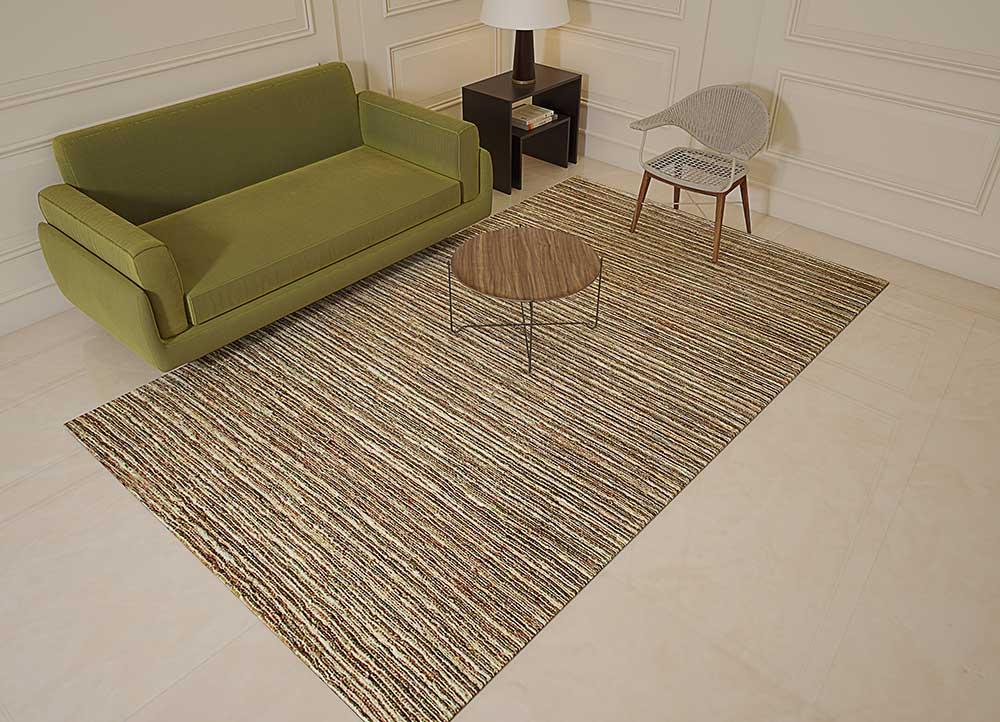 abrash beige and brown jute and hemp jute rugs Rug - Loom