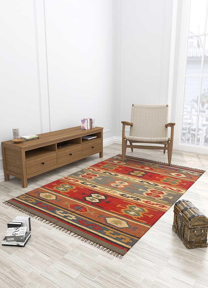 bedouin red and orange jute and hemp jute rugs Rug - Loom