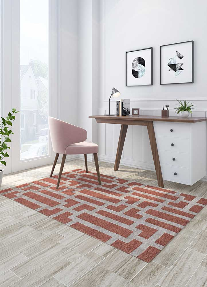contour red and orange wool and viscose hand tufted Rug - Loom