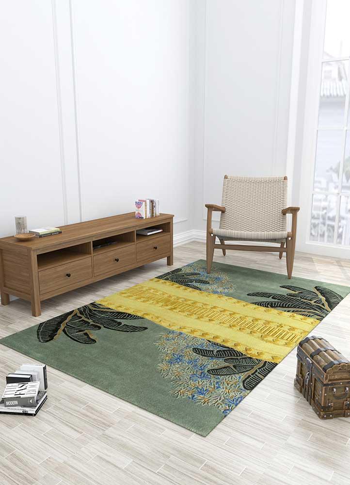 jaipur wunderkammer green wool and viscose hand tufted Rug - Loom