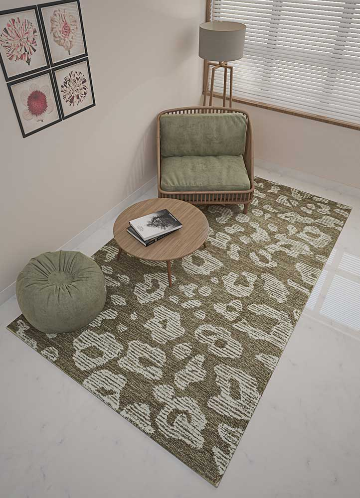 transcend beige and brown wool and viscose hand tufted Rug - Loom