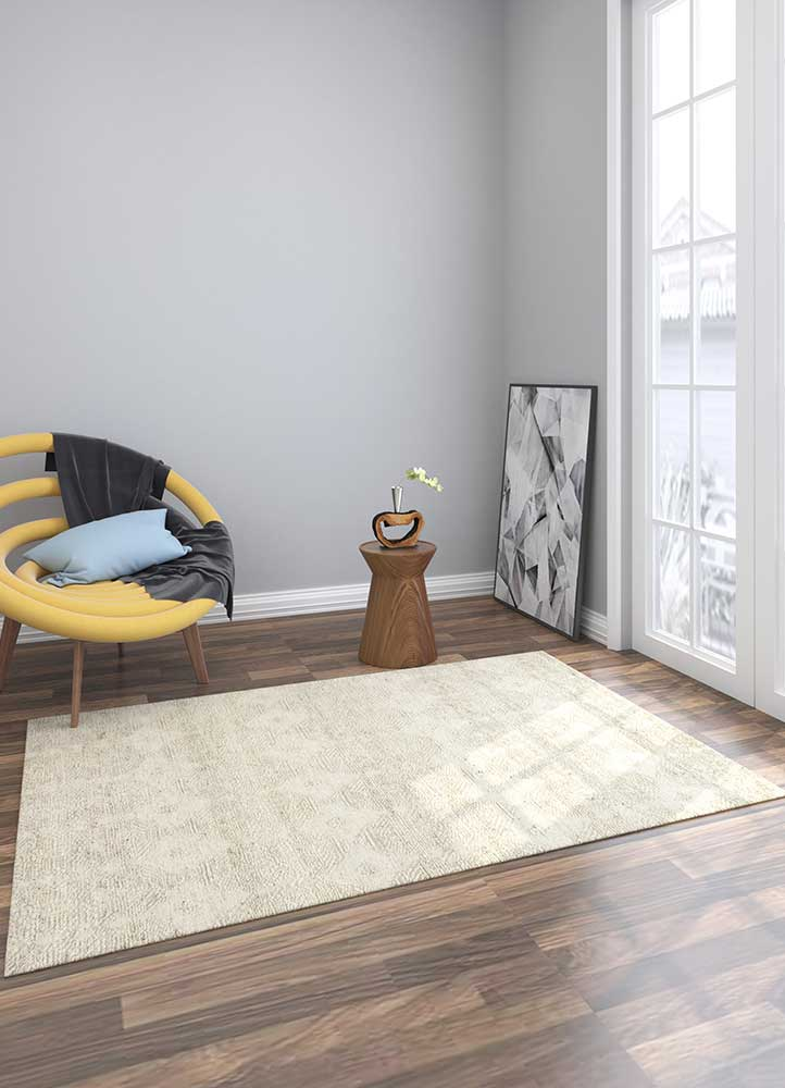 revolution ivory wool hand knotted Rug - Loom