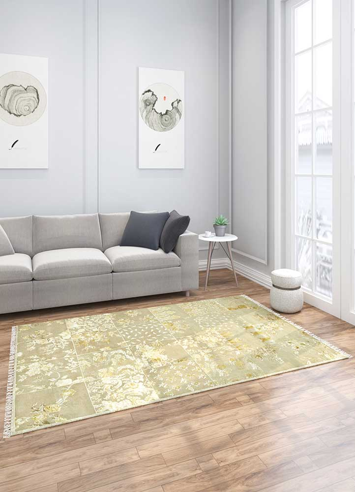 aurora beige and brown wool and silk hand knotted Rug - Loom