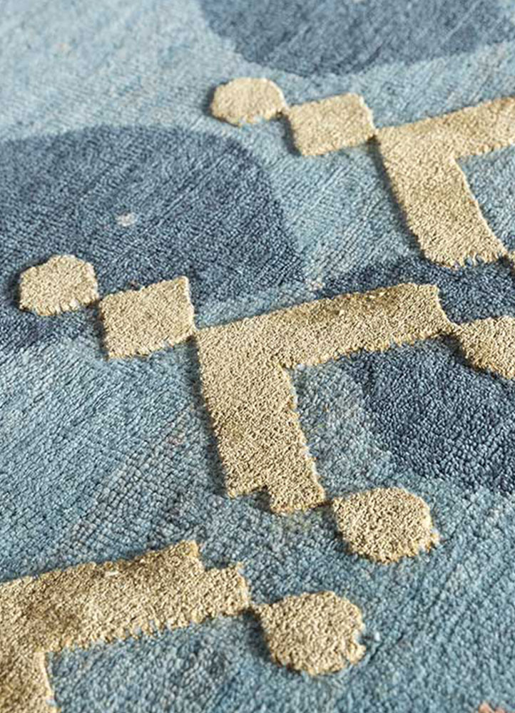 kolam blue wool and bamboo silk hand knotted Rug - Perspective