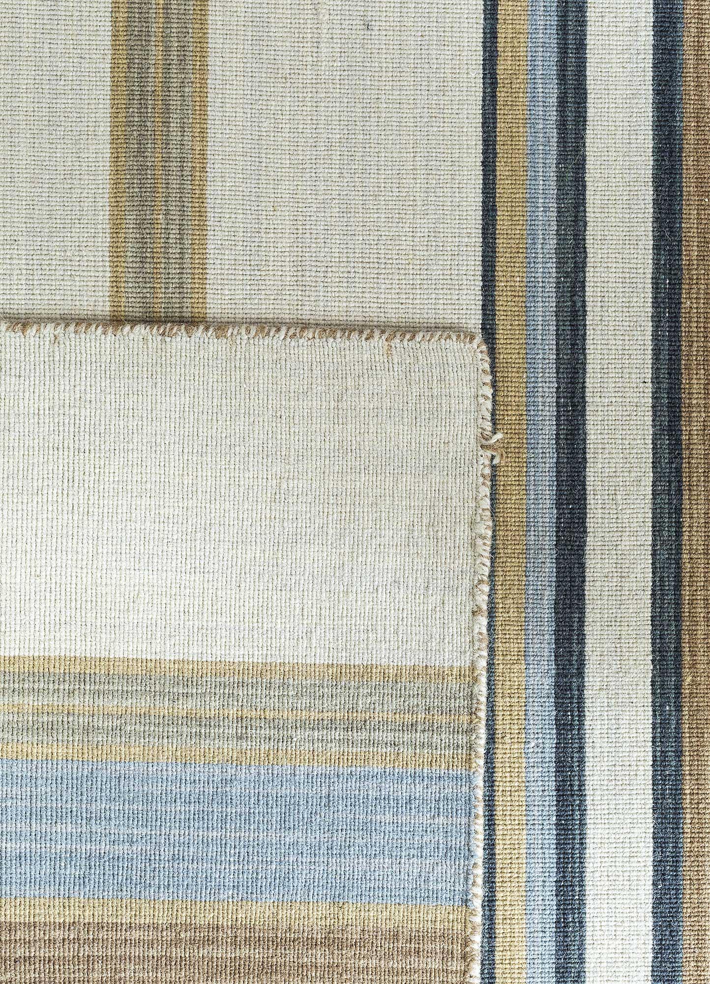 aqua gold wool flat weaves Rug - Perspective