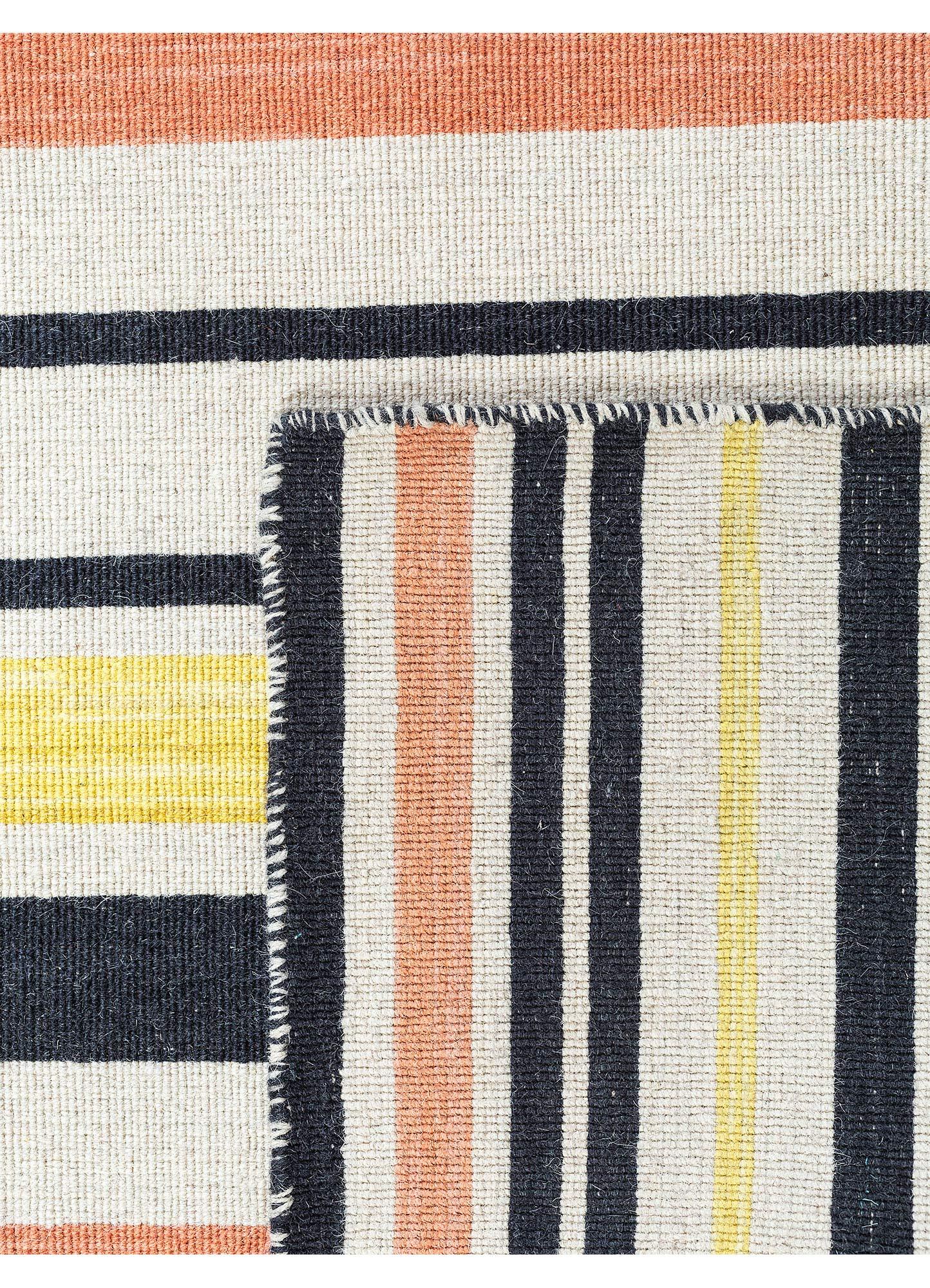 aqua grey and black wool flat weaves Rug - Perspective