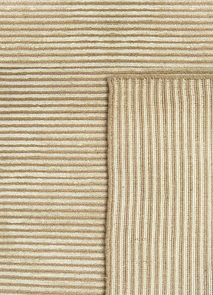 basis beige and brown wool and viscose hand loom Rug - Perspective