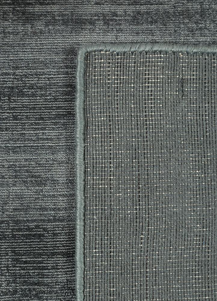 yasmin grey and black viscose hand loom Rug - Perspective