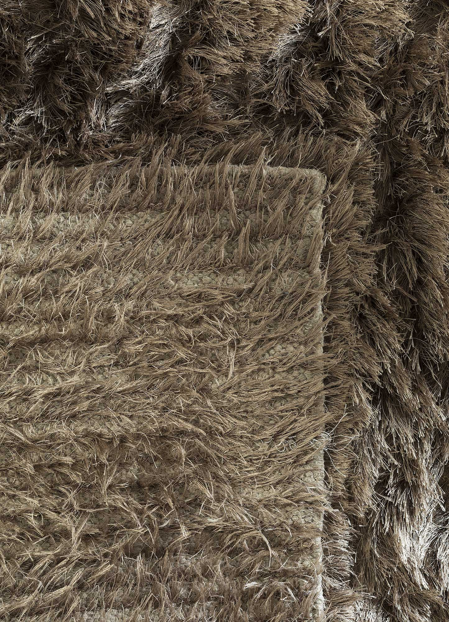 verve beige and brown polyester shag Rug - Perspective