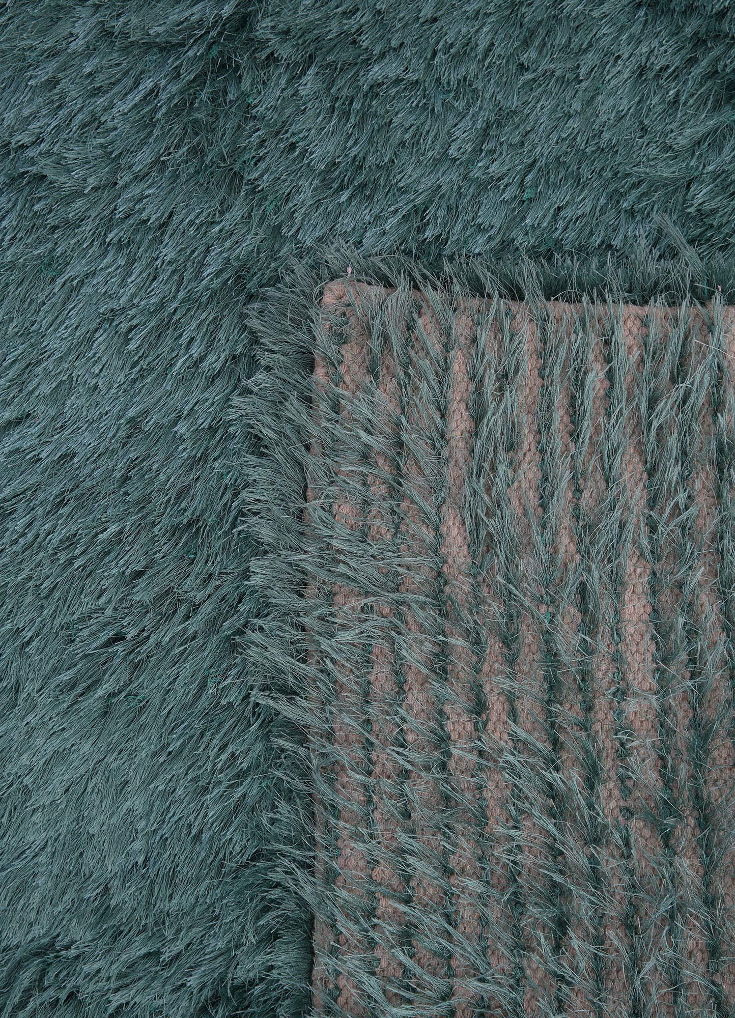 verve blue polyester shag Rug - Perspective